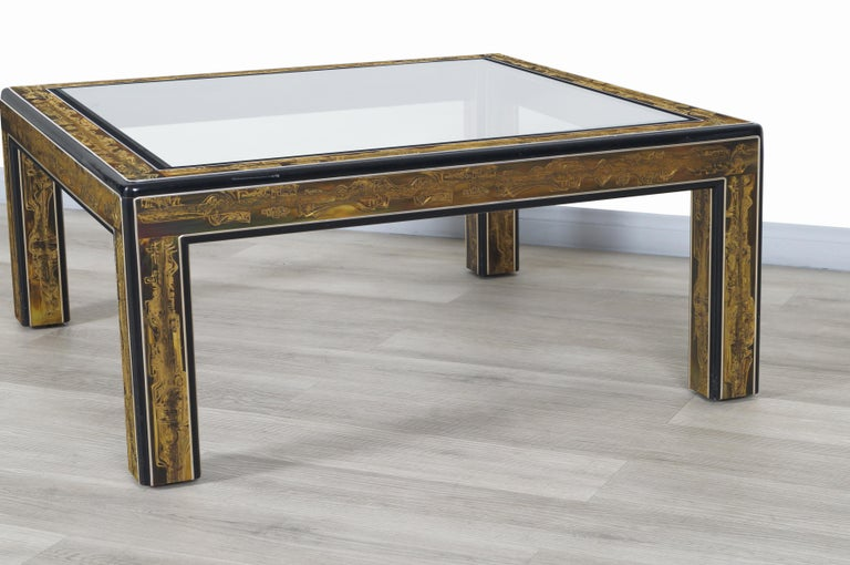 Vintage Acid Etched Brass Coffee Table by Bernard Rohne for Mastercraft For Sale 5
