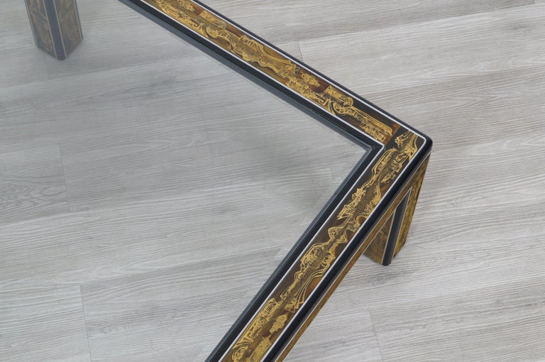 Vintage Acid Etched Brass Coffee Table by Bernard Rohne for Mastercraft For Sale 7