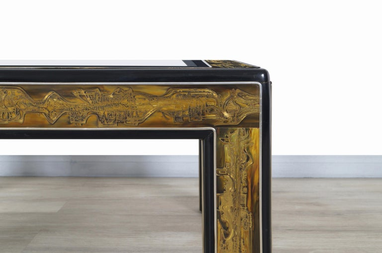 Mid-Century Modern Vintage Acid Etched Brass Coffee Table by Bernard Rohne for Mastercraft For Sale