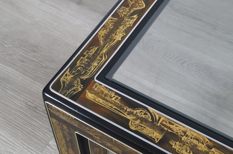 American Vintage Acid Etched Brass Coffee Table by Bernard Rohne for Mastercraft For Sale