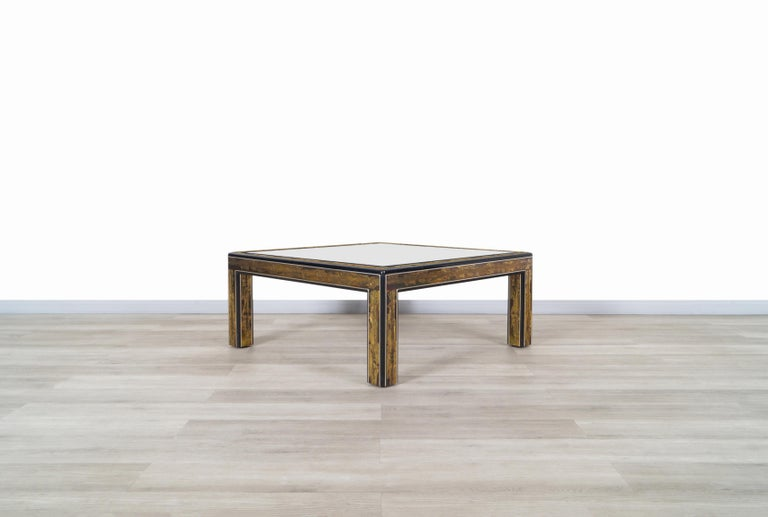 Vintage Acid Etched Brass Coffee Table by Bernard Rohne for Mastercraft In Good Condition For Sale In Burbank, CA