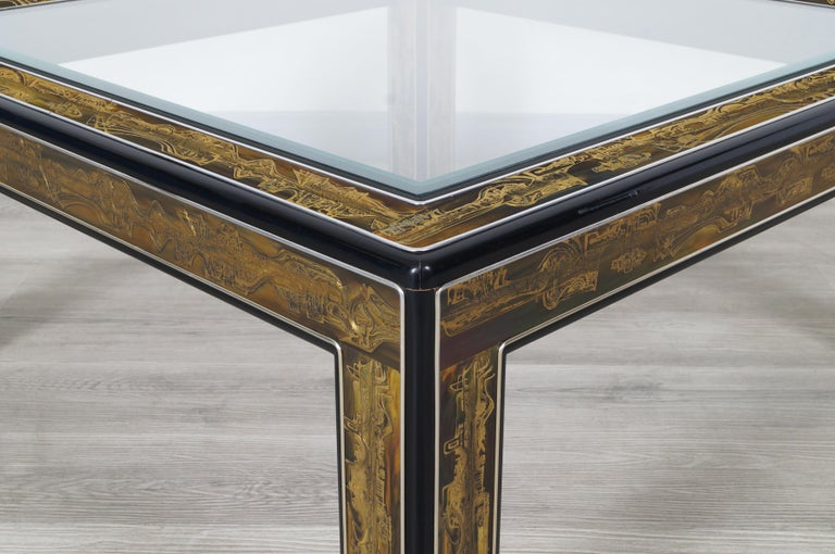 Late 20th Century Vintage Acid Etched Brass Coffee Table by Bernard Rohne for Mastercraft For Sale