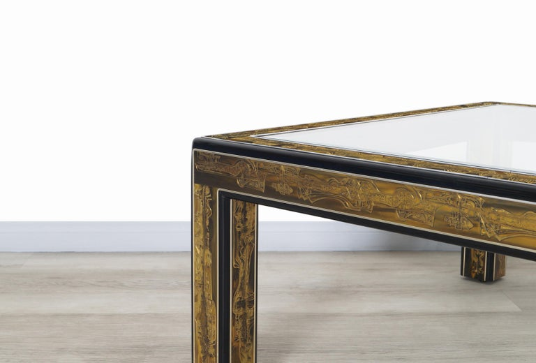 Vintage Acid Etched Brass Coffee Table by Bernard Rohne for Mastercraft For Sale 1