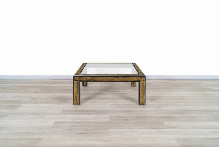 Vintage Acid Etched Brass Coffee Table by Bernard Rohne for Mastercraft For Sale 2