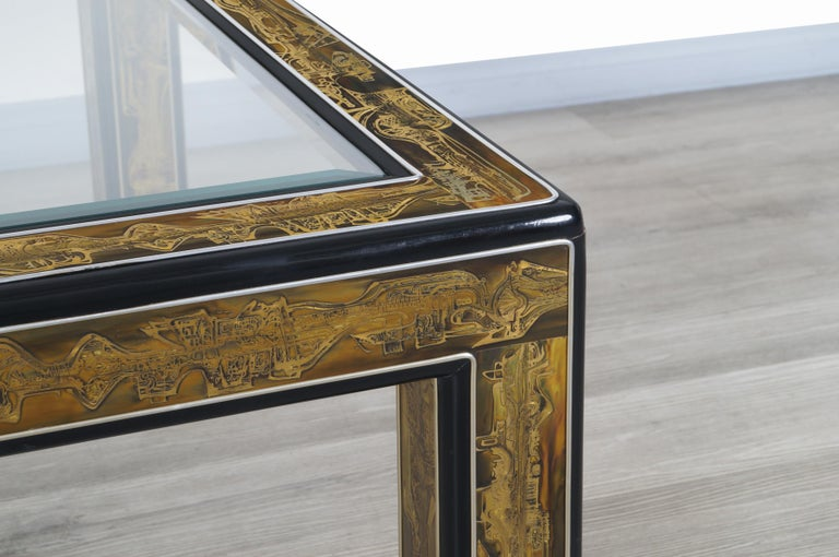 Vintage Acid Etched Brass Coffee Table by Bernard Rohne for Mastercraft For Sale 3