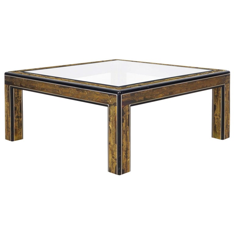 Vintage Acid Etched Brass Coffee Table by Bernard Rohne for Mastercraft For Sale