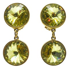 Vintage Acid Yellow Rivoli Crystal Drop Earrings 1980S