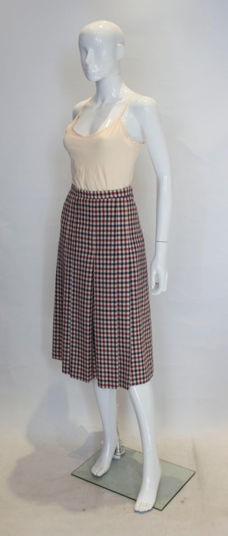 Gray Vintage Acquascutum Check Skirt For Sale