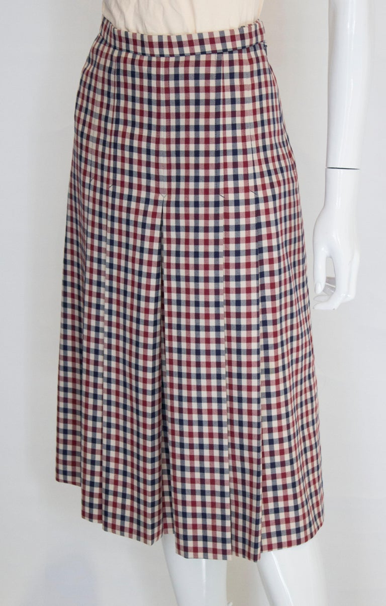 Vintage Acquascutum Check Skirt In Good Condition For Sale In London, GB