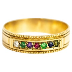 Vintage Acrostic 'Dearest' Multistone 9 Carat Gold Band