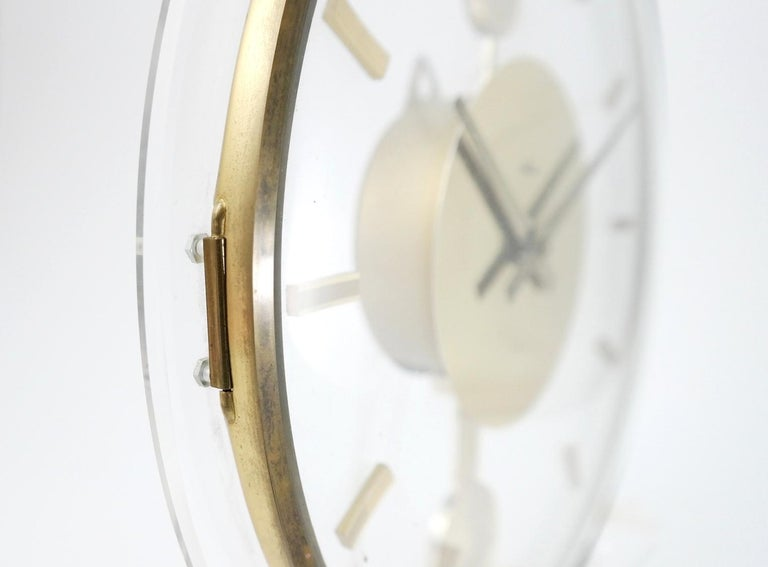 Hollywood Regency Vintage Acrylic and Brass Wall Clock, 1960s For Sale