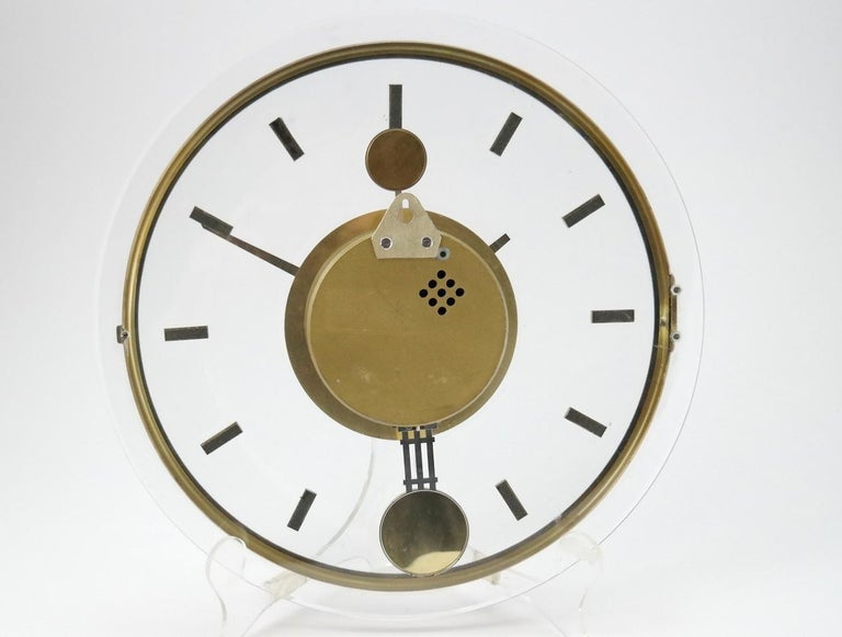 Vintage Acrylic and Brass Wall Clock, 1960s In Good Condition For Sale In Budapest, HU
