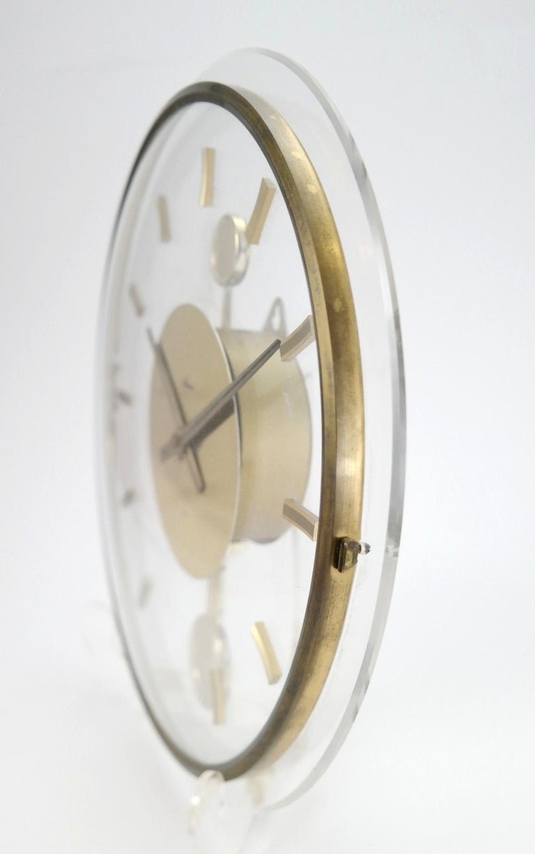 Mid-20th Century Vintage Acrylic and Brass Wall Clock, 1960s For Sale