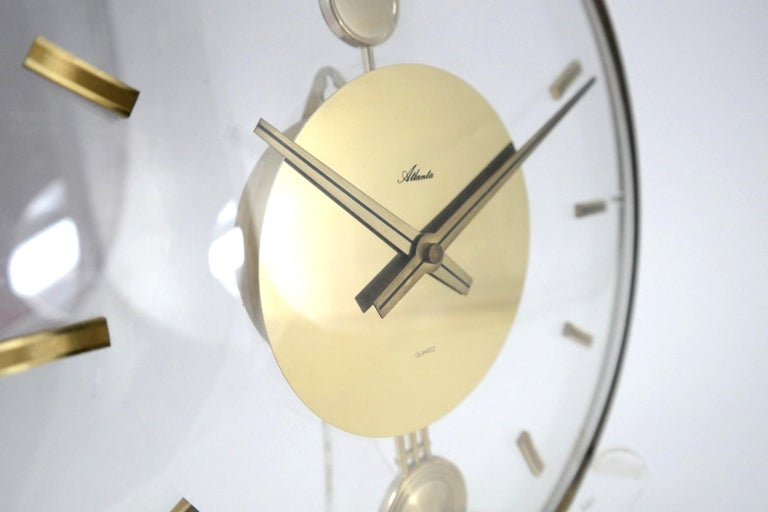 Vintage Acrylic and Brass Wall Clock, 1960s For Sale 1