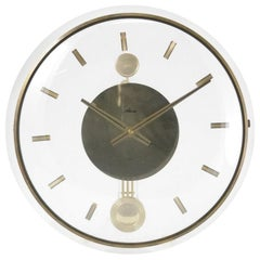 Vintage Acrylic and Brass Wall Clock, 1960s