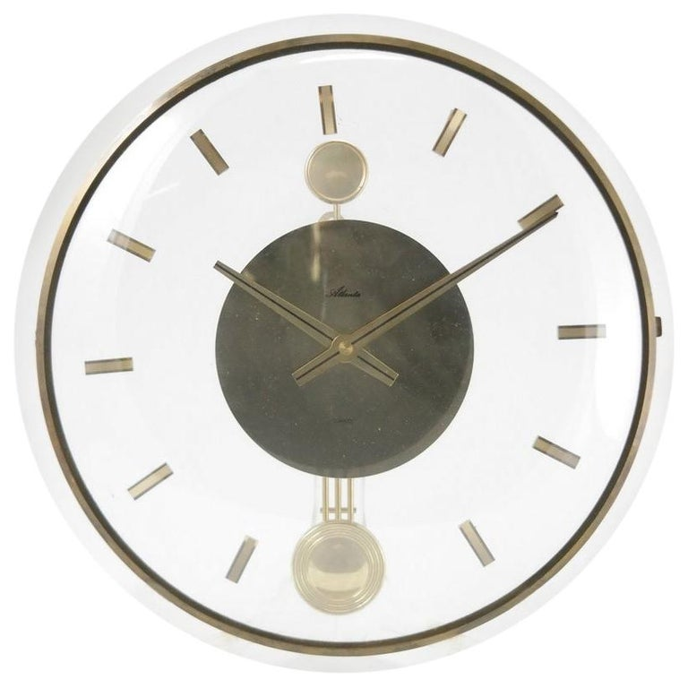 Vintage Acrylic and Brass Wall Clock, 1960s For Sale