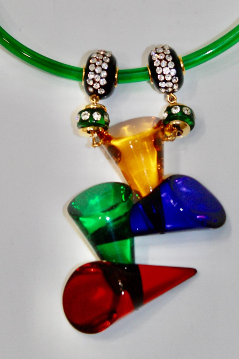 Modern Vintage Acrylic and Crystal Double Drop Choker For Sale