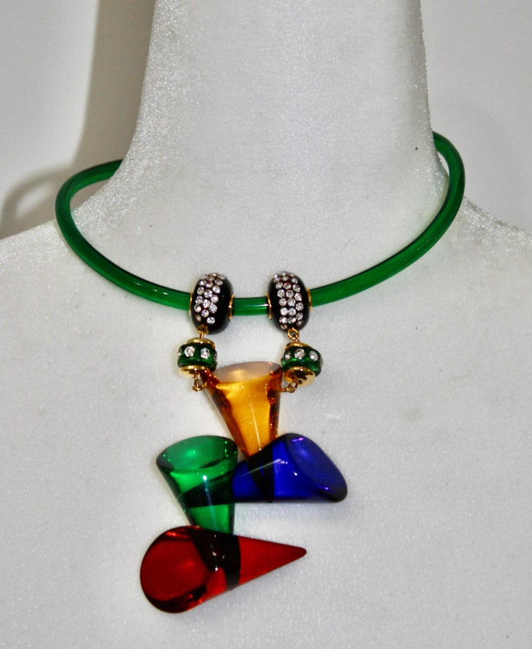 Vintage Acrylic and Crystal Double Drop Choker In New Condition For Sale In Virginia Beach, VA