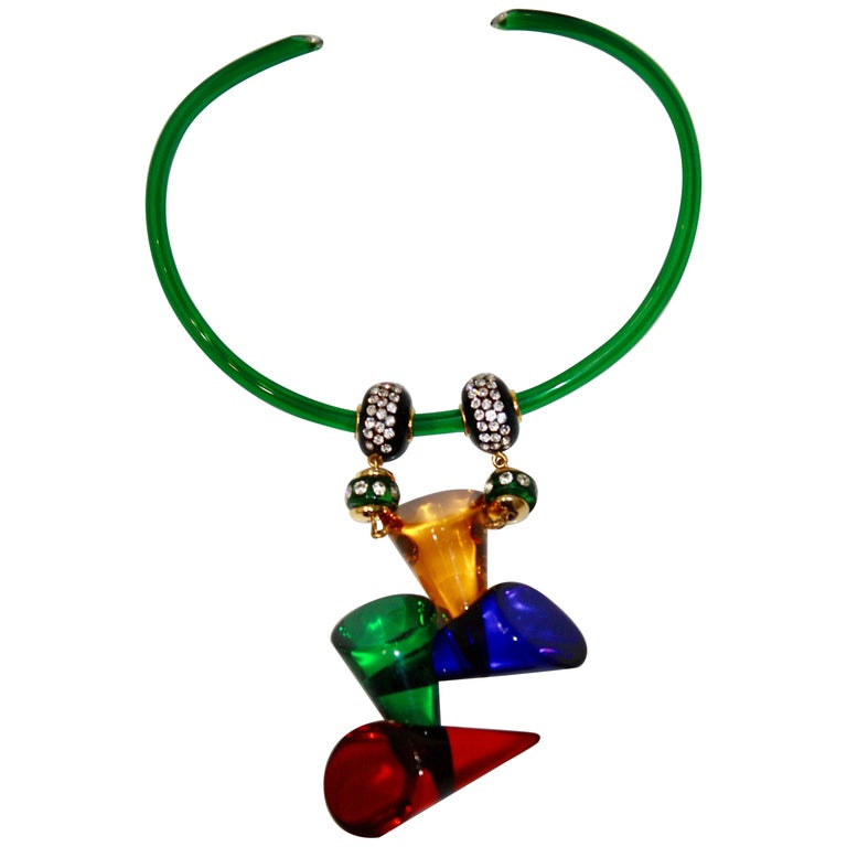 Vintage Acrylic and Crystal Double Drop Choker For Sale