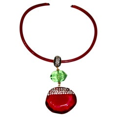 Vintage Acrylic Fuchsia and Green Drop Architectural Necklace