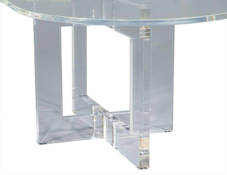 Vintage Acrylic Modern Drop-Leaf Dining Table For Sale 4