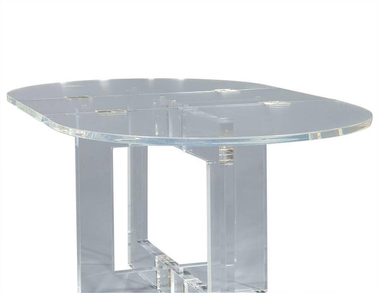 Vintage Acrylic Modern Drop-Leaf Dining Table For Sale 5