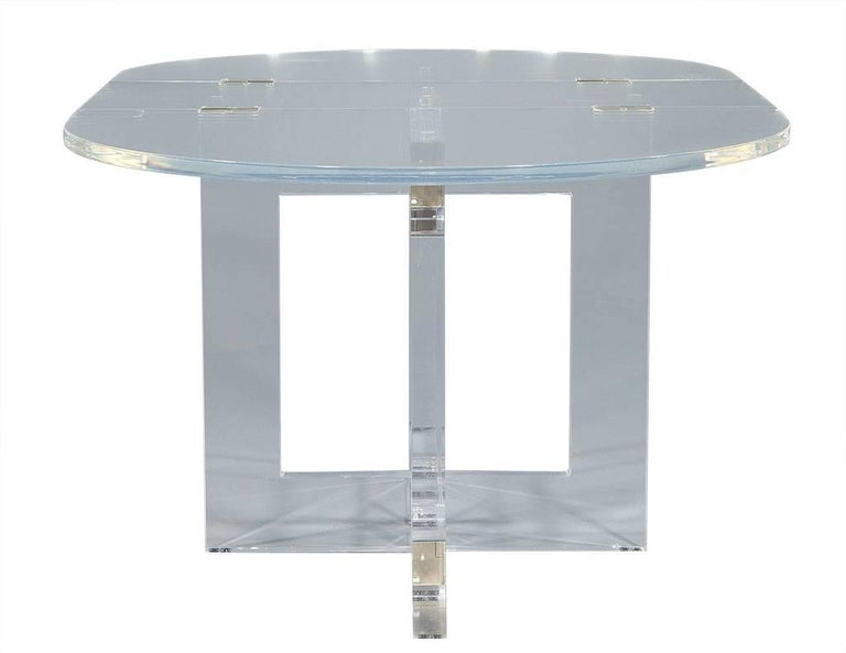 American Vintage Acrylic Modern Drop-Leaf Dining Table For Sale