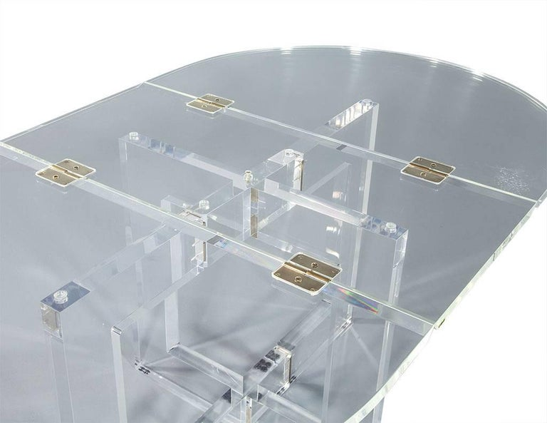 Vintage Acrylic Modern Drop-Leaf Dining Table For Sale 2