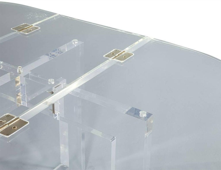 Vintage Acrylic Modern Drop-Leaf Dining Table For Sale 3