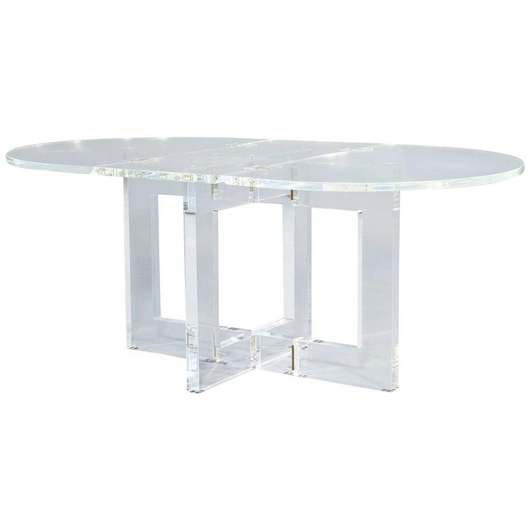 Vintage Acrylic Modern Drop-Leaf Dining Table For Sale