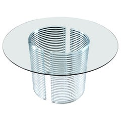 Vintage Acrylic Tubular Stacked Lucite Circular Dining Table with Glass Top