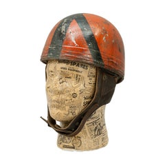 Vintage Acu Approved Cromwell Motorcycle Helmet, Red and Black
