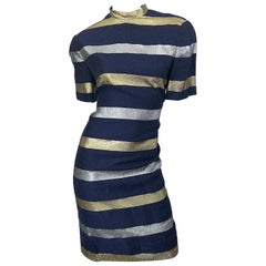 Vintage Adele Simpson Size 10 Navy Blue + Gold + Silver Striped Linen Dress