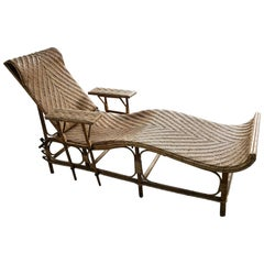 Vintage Adjustable Bamboo and Rattan Chaise Lounge