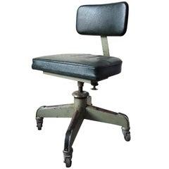 Vintage Adjustable Leather Desk Chair
