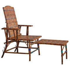 Vintage Adjustable Rattan Armchair with Footrest and Woven Details, France 1930s