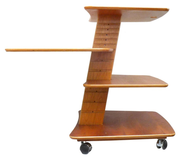 Vintage Adjustable Rolling Table or Workstation by Aksel Kjersgaard for Levenger In Good Condition For Sale In Los Angeles, CA