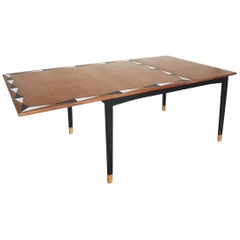 Vintage Adjustable Teak Dining Table with Hand Painted Pattern, 1960s