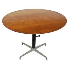 Vintage Adjustable Teak Table on Pedestal Base, Made in Denmark