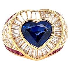 Vintage Adler Sapphire Ruby Diamond 18 Karat Gold Heart Ring
