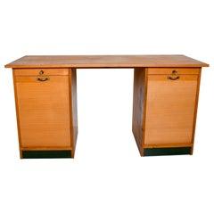 Rare Adolf Meyer Bauhaus Blonde Desk Keyed Smart Tambour Doors, Germany