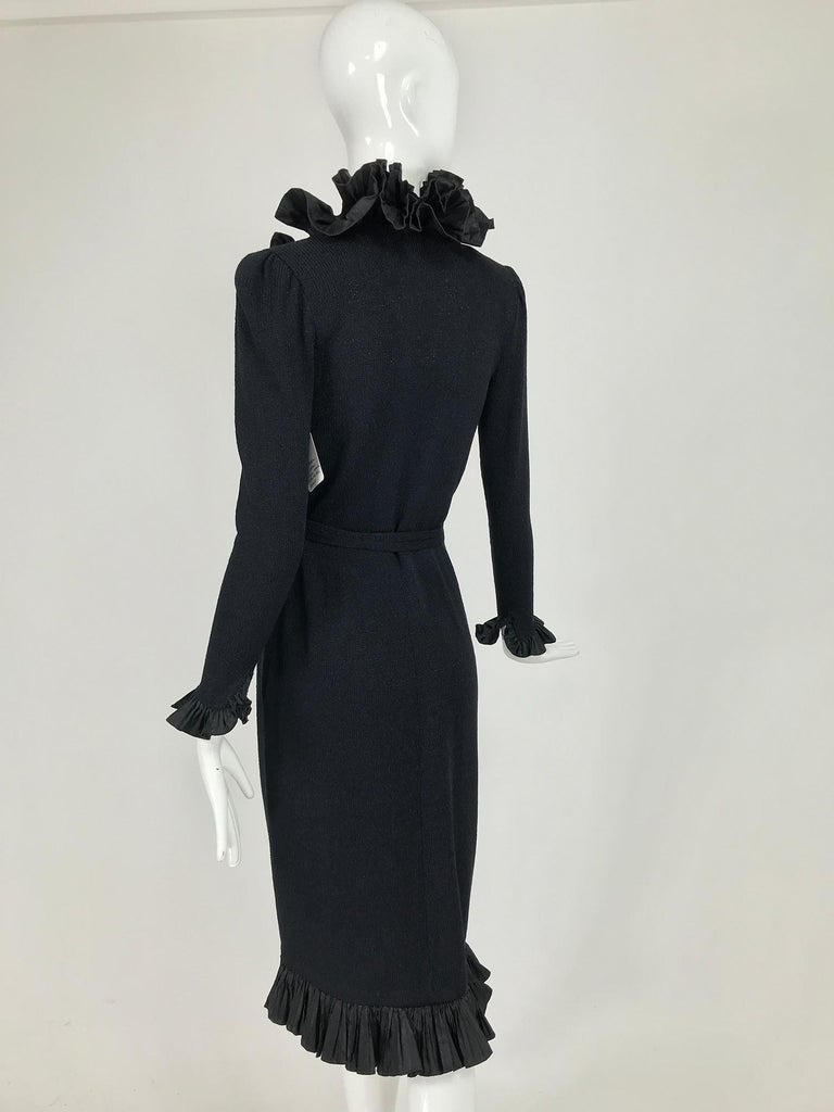 Vintage Adolfo Black Ruffle Trim Wrap Dress 1970s In Good Condition For Sale In West Palm Beach, FL