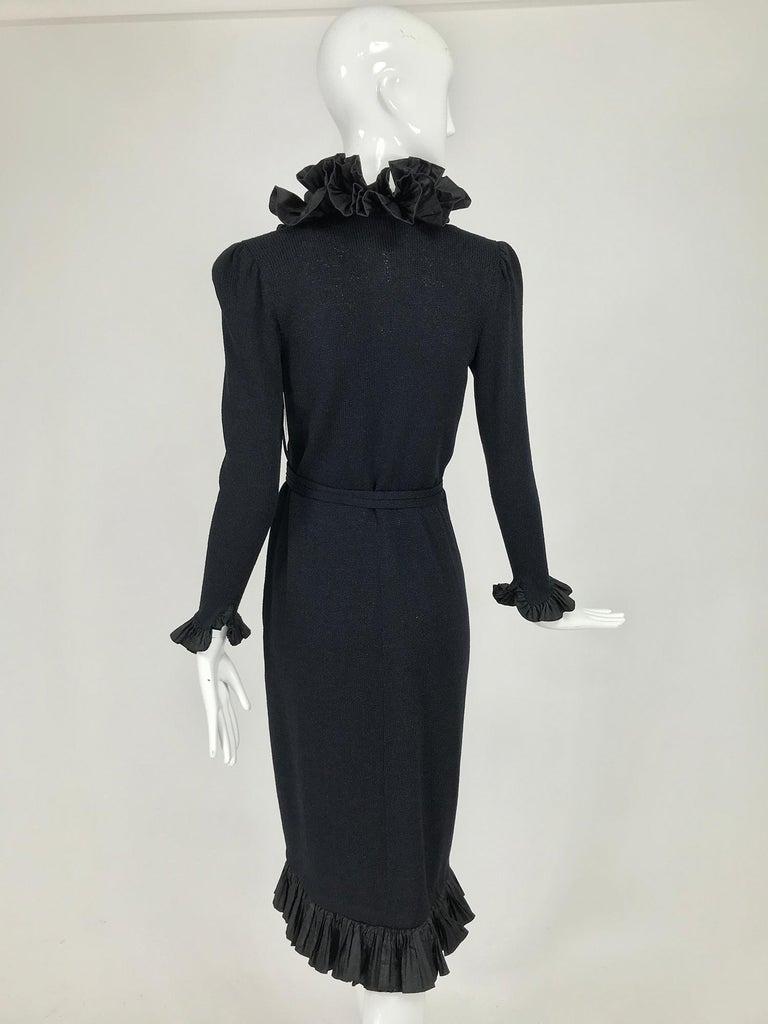 Women's Vintage Adolfo Black Ruffle Trim Wrap Dress 1970s For Sale