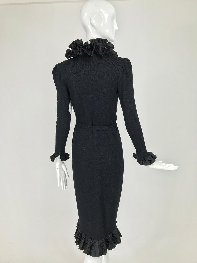 Vintage Adolfo Black Ruffle Trim Wrap Dress 1970s For Sale 1