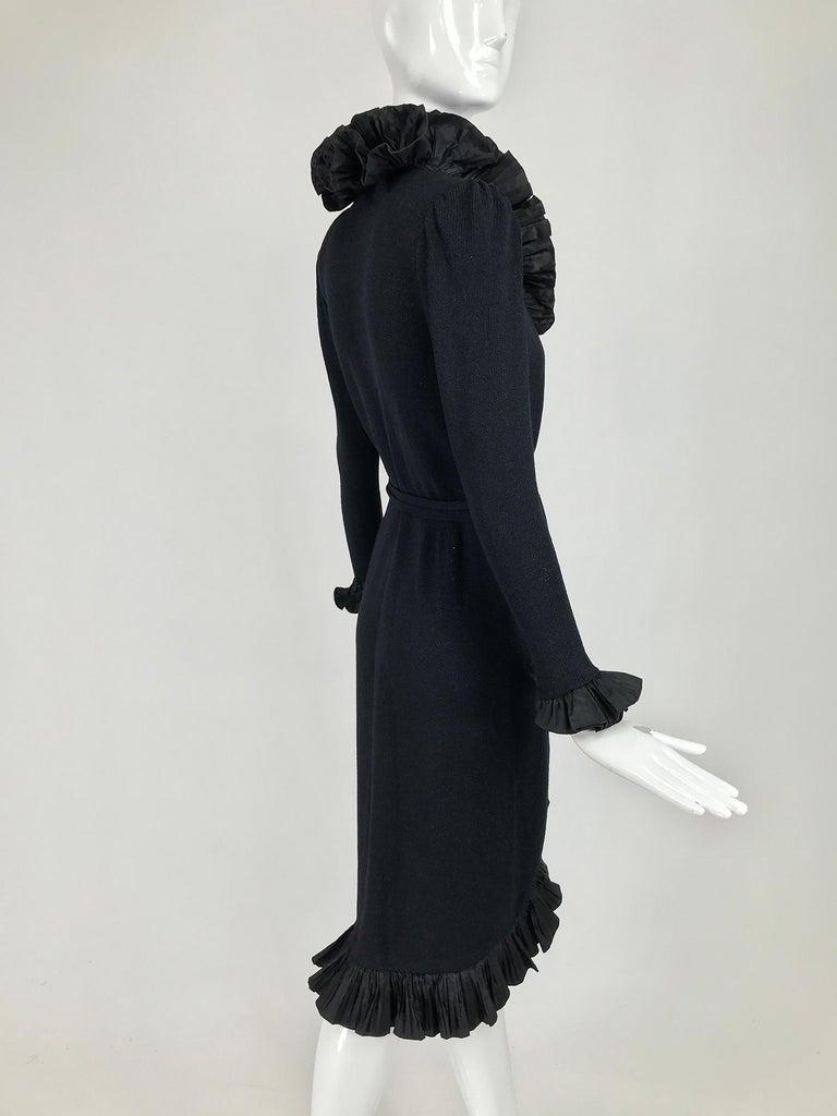 Vintage Adolfo Black Ruffle Trim Wrap Dress 1970s For Sale 2