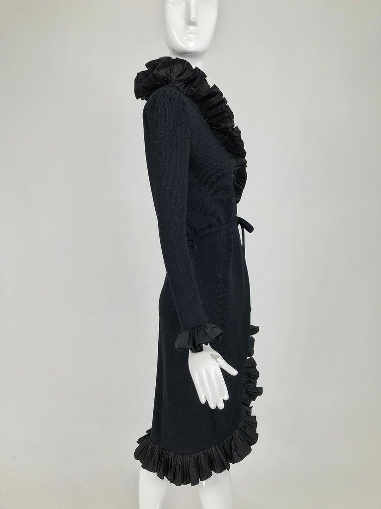 Vintage Adolfo Black Ruffle Trim Wrap Dress 1970s For Sale 3