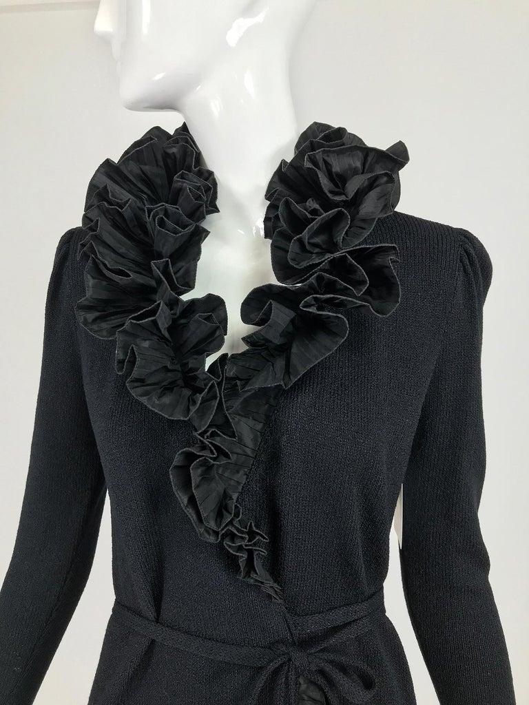 Vintage Adolfo Black Ruffle Trim Wrap Dress 1970s For Sale 4