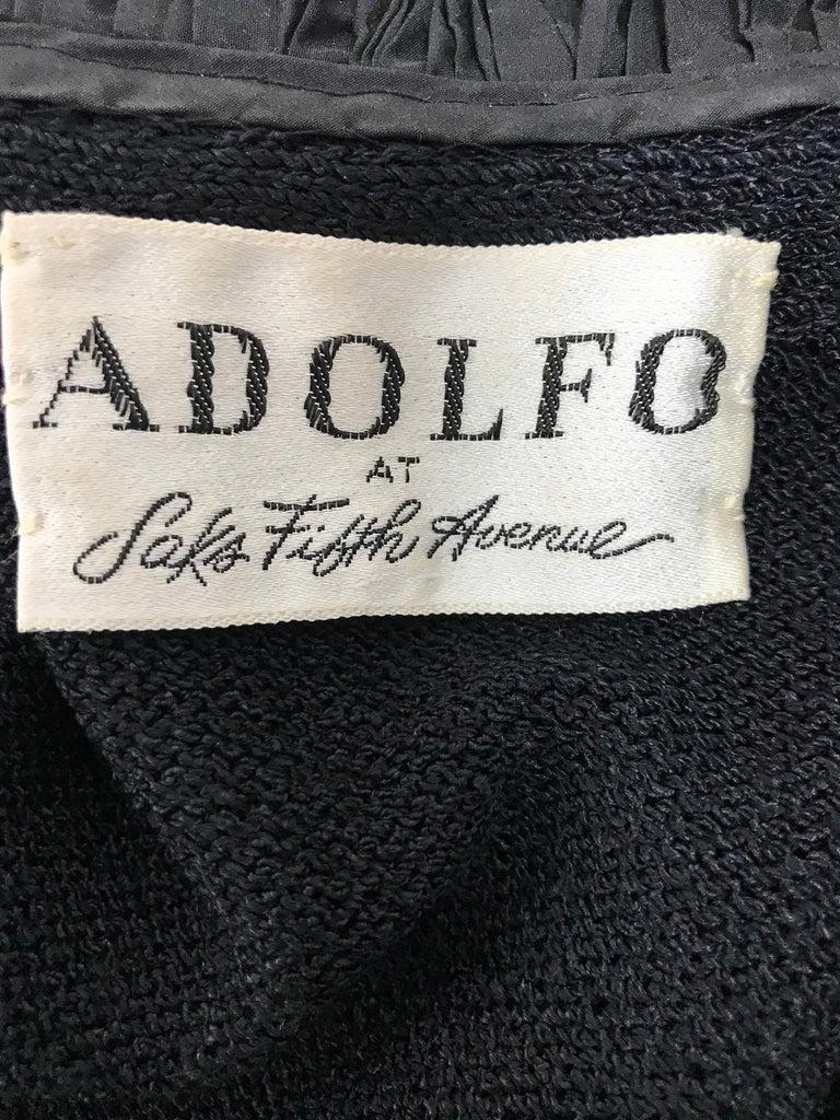 Vintage Adolfo Black Ruffle Trim Wrap Dress 1970s For Sale 5