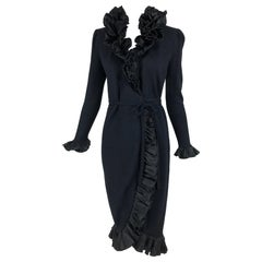 Vintage Adolfo Black Ruffle Trim Wrap Dress 1970s