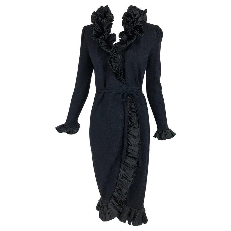 Vintage Adolfo Black Ruffle Trim Wrap Dress 1970s For Sale